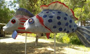 Felt fish blue red felt art